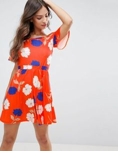 ASOS Off Shoulder Skater Sundress in Red Floral Print