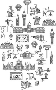 Imagine Budapest Merchandising on Behance Tattoo Budapest, Minimalist Icons, Budapest Travel, Travel Sketchbook, Hungary Travel, Cruise Travel, Travel Europe, Bullet Journal Ideas Pages, Budapest Hungary