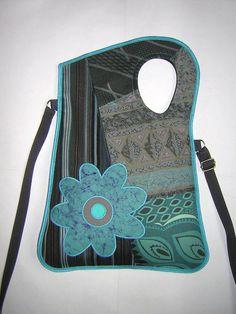 Turquoise-grey floral sling bag