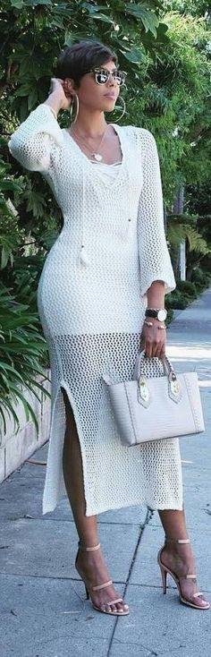 New crochet dress summer street styles ideas All White Outfit, White Outfits, Summer Outfits, Summer Dresses, Crochet Dress Outfits, Love Fashion, Womens Fashion, Urban Fashion, Street Style Summer
