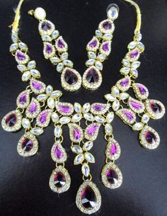 Beautiful Purple & Ice Rhinestone Necklace Earring Set