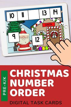 There are 35 cards in this deck. Each card has 5 numbers in order with 1 missing number. Kids will choose the missing number that will fill in the blank correctly. Use these task cards as a fun center to improve math skills in preschool and kindergarten. This digital resource is compatible with google classroom and seesaw and perfect for distance or homeschooling. #digital #boom #task cards #math #count #number #pre-k #preschool #kindergarten #christmas #santa #sequence #order #winter… Interactive Learning, Learning Games, Doodle Fonts, Ordering Numbers, Christmas Math, Business For Kids, Task Cards, Pre School, Distance