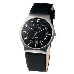 Buy Skagen 233XXLSLB Men's Leather Strap Watch, Black Online at johnlewis.com