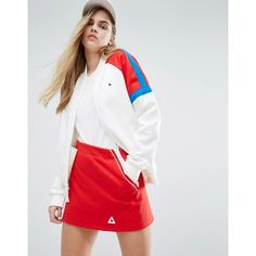 Le Coq Sportif Sweat Bomber Jacket With Colour Block Panels (€110) ❤ liked on Polyvore featuring outerwear, jackets, multi, bomber jacket, zip jacket, pocket jacket, white bomber jacket and tall jackets
