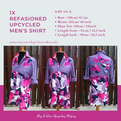 1X Refasioned UpCycled Men's Shirt Application Dress Shabby Chic Shirt Recycled Fabric Dress Boho Bohemian Patchwork Shirt Artistic World Decor, Works With Alexa, New Crafts, Recycled Fabric, Book Format, Boho Dress, Recycling, Shabby Chic, Diy