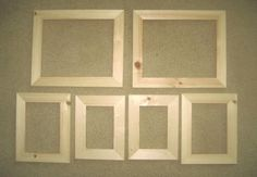 6 unfinished wood picture frames