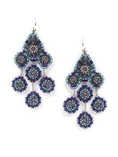 Miguel Ases Light Blue Multi-Drop Earrings