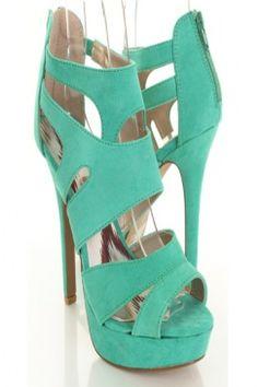 aqua green peeptoe heels!