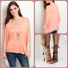 Bohemian Coral Top This gorgeous top features fringed edging. Lightweight comfy material. 95% Rayon, 5% Spandex. Shoe pic used to style top and are not available. Price of top firm unless bundled or goes on sale. I block low offers but consider reasonable offers (This closet does not trade or use PayPal) Mag Tops