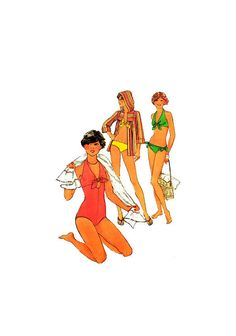 Simplicity 8028 One Piece Bathing Suit, Tie Bikini and Hooded Cover-Up, Uncut, Factory Folded, Sewing Pattern Size 14 or 16 Top Pattern, 1970s, Bathing Suits, Size 14, Hoods, Sewing Patterns, Cover Up, One Piece, Tie