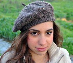 Crochet beret womens hat adult hat woman's beret wool by Malloo