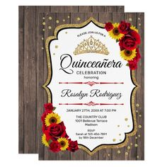 Quinceanera - Rustic Wood White Sunflowers Roses Invitation #Ad , #AD, #White#Sunflowers#Roses#Wood Wood Invitation, Rustic Invitations, Floral Invitation, Zazzle Invitations, Bridal Shower Invitations, Rustic Birthday, Elegant Birthday Party, Sweet 16 Birthday, 21st Birthday
