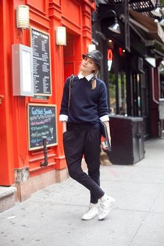 Playful modern classic: replace with cropped navy pants, navy v-neck, white shirt and Cons. I have the pieces I need for this