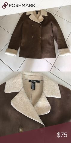 DKNY jacket Pristine condition.  Faux shearling - size is small but boxy.  Can fit medium. Jackets & Coats