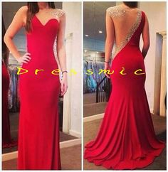 Long Sexy Prom Dress,Red Floor-length Prom Dresses Cheap Backless Wedding Party Dresses, long evening dresses, formal dressses