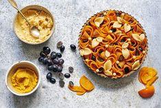 FRANGIPANE, PERSIMMON AND GRAPE TART — Julie Jones Grape Tart Recipes, Julie Jones, Kitchen Foil, Pastry School, Ground Almonds, Blender Recipes, Recipe Instructions, No Bake Pies, English Food