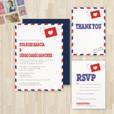 Retro Airmail Wedding Invitation DIY Set (printable). $30.00, via Etsy.