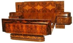 1930s Art Deco walnut French bed with integral bedside cabinets. Deco-World.com's photo.