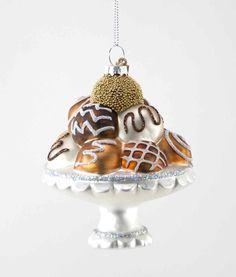 "Katherine's Collection Fifi Goes To Paris Christmas Collection Twelve 5"" Chocolate Bon Bon Plate Glass Ornaments Free Ship"