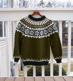 Traditional, unisex, Icelandic Lopi pullover in child and teen sizes with colorwork details.