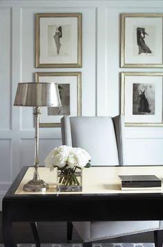 Black Lacquer Desk - Transitional - den/library/office - Sherwin Williams Pure White - Linda McDougald Design