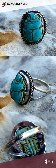 """Vintage Sterling Turquoise Carved Scarab Ring The top of the ring is 7/8"""" X 3/4"""", double shank band, size 7, 5.g Vintage Jewelry Rings"""