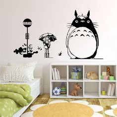 Japan Style Graphic vinyl wall sticker of TOTORO  Cat for kids room decorative tree wall decals mural vinilo pegatinas de pared *** Want additional info? Click on the image.