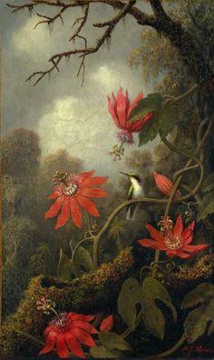 Martin Johnson Heade: Hummingbird and Passionflowers (1875-1885) via The Metropolitan Museum of Art