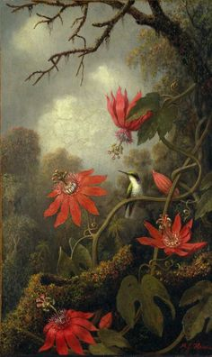 'Hummingbird and Passionflowers' (c.1875-85) by American painter Martin Johnson Heade (1875-1885).