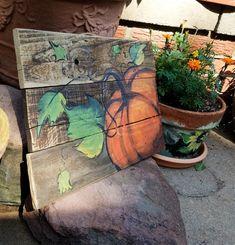 Pumpkin wooden Fall\Autumn art on reclaimed wood fence\ Fall sign\ by Artist Bill Miller of Miller's Art, Great Fall/Halloween decor Pumpkin Template, Barn Door Designs, Fall Images, Diy Fall Wreath, Autumn Art, Autumn Ideas, Mini Canvas Art, Garden In The Woods, Pallet Art