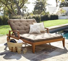 "Pottery Barn Teak Double Chaise - Honey $1199 Overall: 60.5"" w x 86"" d x 23"" h Height: 23"" minimum; 43.5"" maximum Armrest: 32.75"" l Armrest Height Above Floor: 23"" Maximum Weight Capacity: 400 lb Weight: 101 lb Cushion: 52"" w x 83"" d x 2.5"" h"