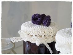 Strawberry and Blackberry Jar Toppers in Crochet