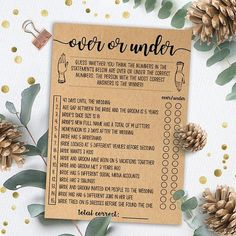 PRODUCT #066: Bridal Over or Under - Kraft Paper High-resolution printable wedding shower game. THIS LISTING IS FOR A DIGITAL DOWNLOAD ONLY: Read about Etsy instant downloads here: www.etsy.com/help/article/3949 For more wedding shower games and bachelorette party games, visit our