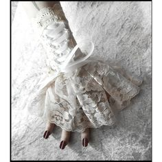 Solstice Corset Laced Up Fingerless Glove Wrist Cuffs - Ivory Lace... ($35) ❤ liked on Polyvore