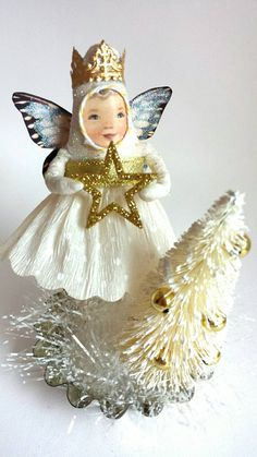 Spun Cotton Fairy Angel with Tree