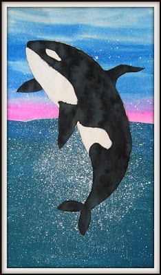 breaching orcas- lower E- dry brush acrylic water, wet on wet watercolor skies, acrylic painted & cut out orca w splattering white paint for splash