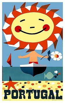 """Vintage 1959 travel poster issued by the Portuguese Tourism Association to promote travel to Portugal depicting a whimsical sun, sand and sea scene, created by artist Gustavo Fontoura. portugal,""""vintage poster"""", """"travel poster"""",beach,summer,resort,coast,riviera,Fontoura,tourism,retro,seaside,algarve,""""summer holiday"""",sagres"""