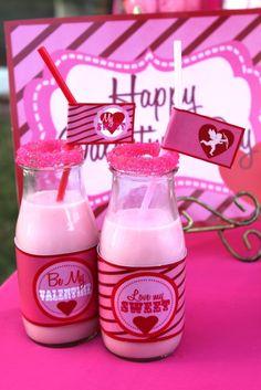 Valentine's Day strawberry milk bottles