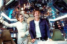 Carrie Fisher and Harrison Ford in between takes on the Millennium Falcon…