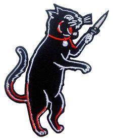 Black Cat with Blade Rockabilly Tattoo Goth Punk Rock Biker Patch