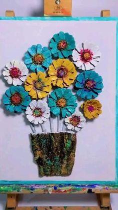 Diy Crafts Hacks, Diy Arts And Crafts, Cute Crafts, Creative Crafts, Paper Crafts, Crafts For Sale, Pine Cone Art, Pine Cone Crafts, Handmade Flowers