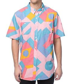 The Spectra light pink button up shirt from LRG brings an inspired pattern throughout and is finished with a button up placket and two chest pockets. Pair this shirt with a pair of pastel walkshorts for a true inspired vibe. Colorful Fashion, Pop Fashion, Retro Fashion, Fashion Outfits, Short Sleeve Button Up, Button Up Shirts, Long Sleeve Shirts, Funky Shirts, Casual Shirts For Men