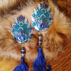 New at me shop! Stunning blue aqua hues teardrop rhinestones lace design pasties with removable tassels!