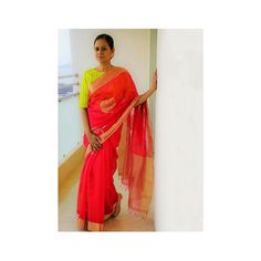 Mona Sinha, in our Radha Kund (marigold motif) chanderi sari and Hevitri striped mashru blouse.   #rawmango #sanjaygarg #chanderi #sari #textile #silk #mashru #india