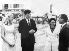 December 6, 1966 - Senator Edward Kennedy with his wife Joan during a visit to the Dead Sea, accompanied by King Hussein of Jordan and his third wife, Princess Muna Al-Hussein (?)