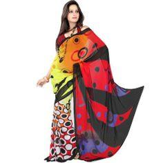 Incredible Indian Women Sari Printed Red Yellow & Black by Fabdeal, http://www.amazon.ca/dp/B00EQEA3YE/ref=cm_sw_r_pi_dp_doPptb0TFW5KB