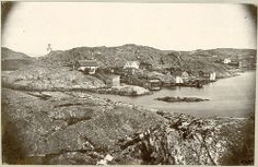 Early bathe in Lysekil, Sweden  The early bathe in Lysekil, founded in 1846 by consul Mollén. Tower of Lysekil church to the left in the picture. 1862