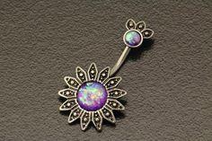 Opal Belly Button Ring. Flower Belly Ring. Boho Tribal Sun Piercing. Silver Navel Ring. Bohemian Sparkle Body Jewelry. Unique Belly Bar. by StarstruckPiercings on Etsy https://www.etsy.com/au/listing/477853854/opal-belly-button-ring-flower-belly-ring