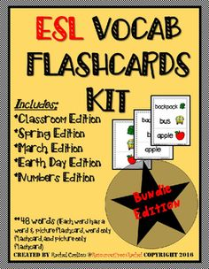 5 ESL Flashcard products from my store and combined them together to give you a discount!!  This BUNDLE of my 5 ESL products includes my:  *Classroom Edition *Numbers Edition *March Edition *Earth Day Edition *Spring Edition