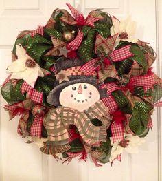 Country snowman decomesh wreath